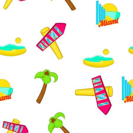 Miami city pattern, cartoon style