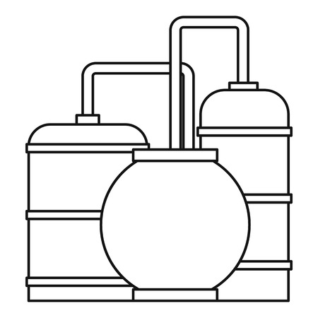 Oil refinery icon, outline style Stock Photo