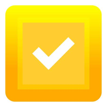 Yellow square button icon. Flat illustration of yellow square button icon for web Stock Photo