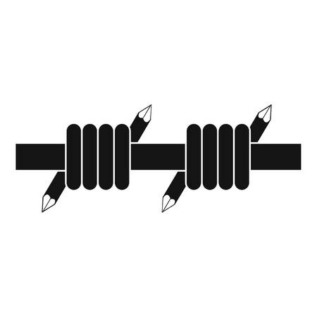 Barbed wire icon. Simple illustration of barbed wire icon for web Stock Photo