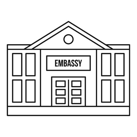 Embassy icon. Outline illustration of embassy icon for web
