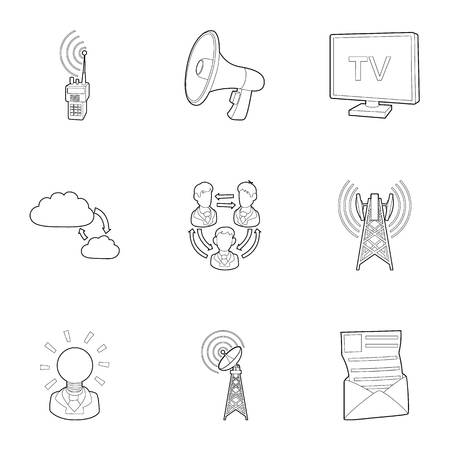 Online icons set. Outline illustration of 9 online icons for web