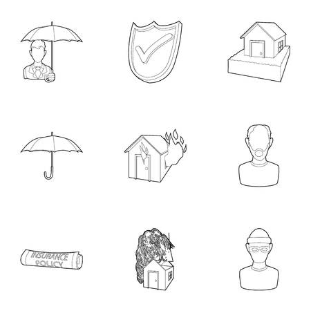 Disaster icons set. Outline illustration of 9 disaster icons for web