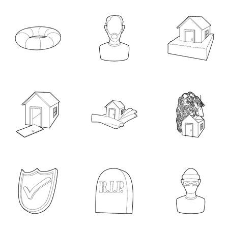 Emergency icons set. Outline illustration of 9 emergency icons for web Stock Photo