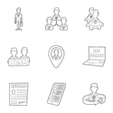 Staffing agency icons set. Outline illustration of 9 staffing agency icons for web