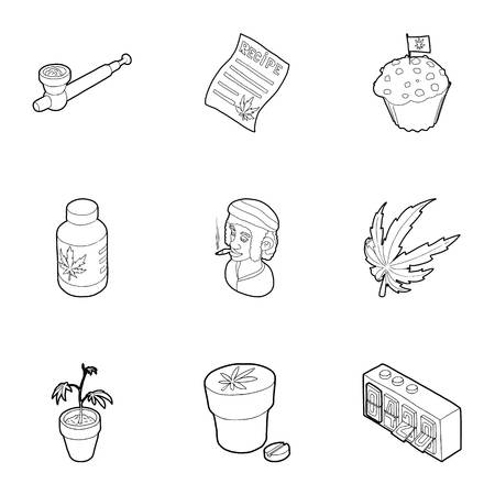 Cannabis icons set. Outline illustration of 9 cannabis icons for web
