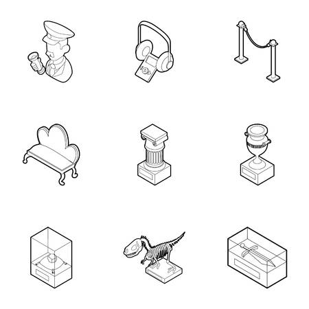 Museum icons set. Outline illustration of 9 museum icons for web