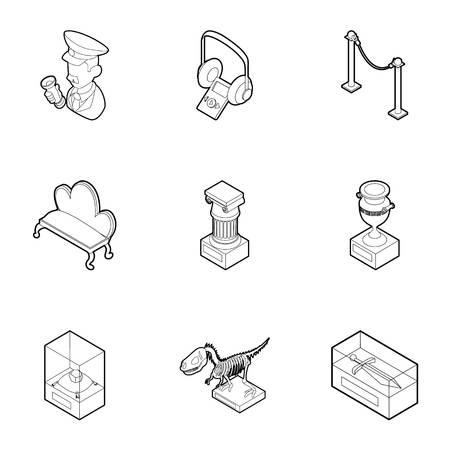 Museum icons set. Outline illustration of 9 museum icons for web Foto de archivo - 107339494