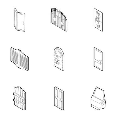 Types of doors icons set. Outline illustration of 9 types of doors icons for web Stock Photo