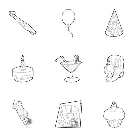 Birthday party icons set. Outline illustration of 9 birthday party icons for web