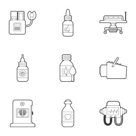 Diagnostic center icons set. Outline illustration of 9 diagnostic center icons for web