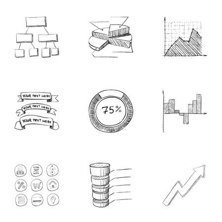 Firm icons set. Hand drawn illustration of 9 firm icons for web 写真素材