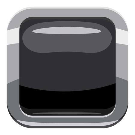 Black square button icon. Cartoon illustration of square button icon for web design