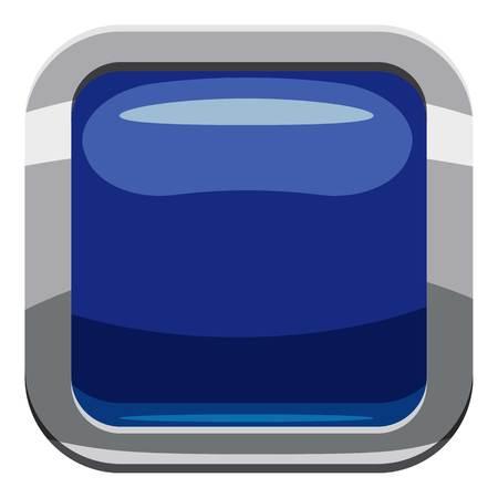 Blue square button icon. Cartoon illustration of square button icon for web design