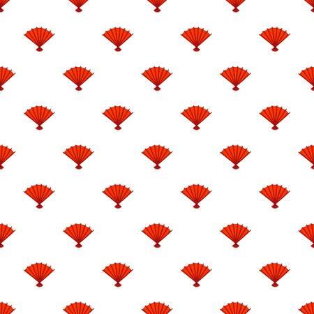 Red open hand fan pattern. Cartoon illustration of red open hand fan pattern for web Stock Photo