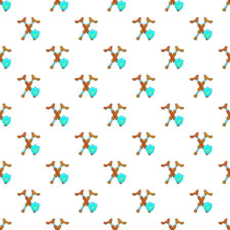 Crossed crutches and sky blue shield pattern. Cartoon illustration of crossed crutches and shield pattern for web Stock Photo