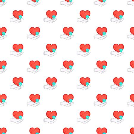 Hand holding red heart and sky blue shield pattern. Cartoon illustration of hand holding red heart pattern for web Stock Photo