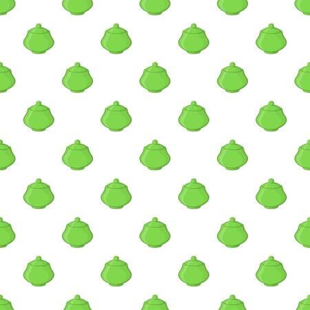 Green sugar bowl pattern. Cartoon illustration of green sugar bowl pattern for web