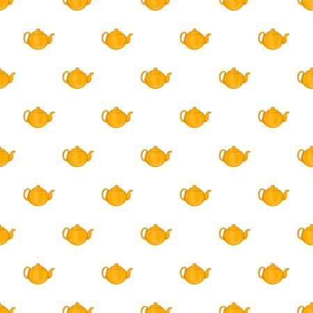 Yellow teapot pattern. Cartoon illustration of yellow teapot pattern for web