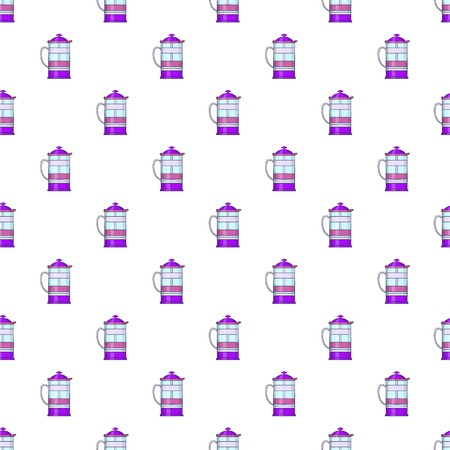 French press coffee maker pattern. Cartoon illustration of french press coffee maker pattern for web
