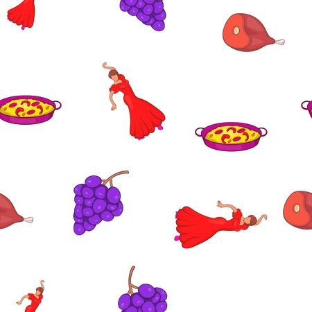 Spain attractions pattern. Cartoon illustration of Spain attractions pattern for web Stockfoto