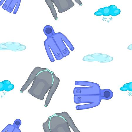 Winter clothes pattern. Cartoon illustration of winter clothes pattern for web