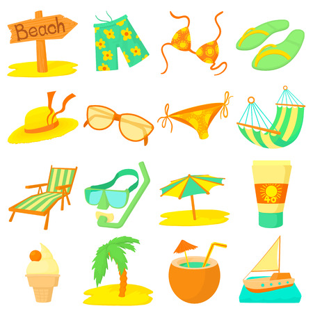 Sea rest icons set. Cartoon illustration of 16 sea rest icons for web