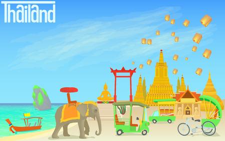 Thailand travel concept. Cartoon illustration of Thailand travel concept for web Stock Photo