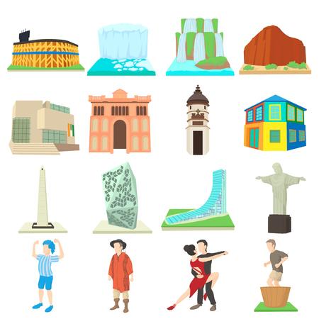 Argentina travel icons set. Cartoon illustration of 16 Argentina travel icons for web
