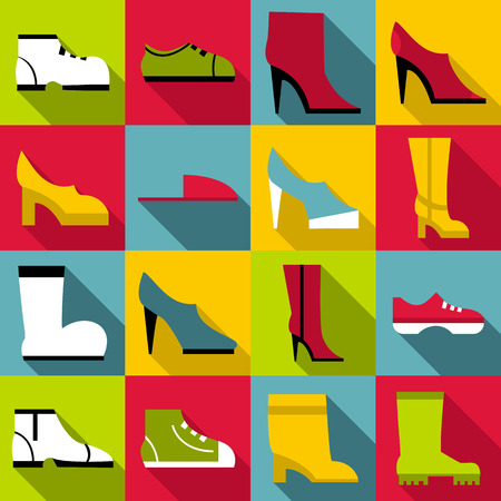 Footwear icons set. Flat illustration of 16 footwear icons for web Stock Photo