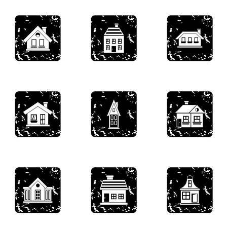 Residence icons set. Grunge illustration of 9 residence icons for web