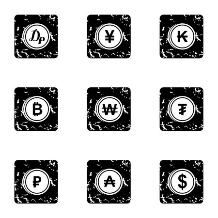 Types of money icons set. Grunge illustration of 9 types of money icons for web