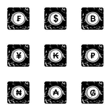 Currency icons set. Grunge illustration of 9 currency icons for web 스톡 콘텐츠