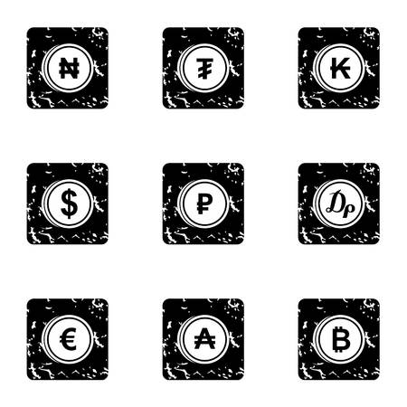Money icons set. Grunge illustration of 9 money icons for web