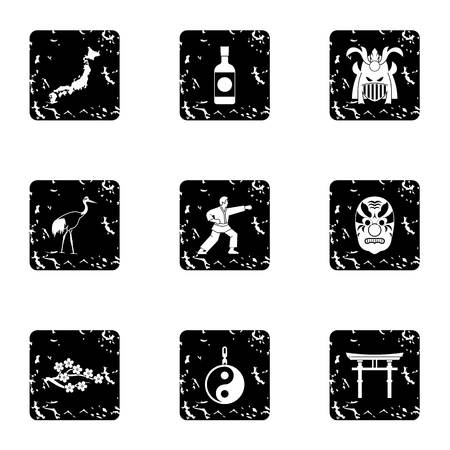 Attractions of Japan icons set. Grunge illustration of 9 attractions of Japan icons for web