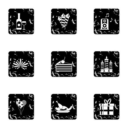 Birthday icons set. Grunge illustration of 9 birthday icons for web