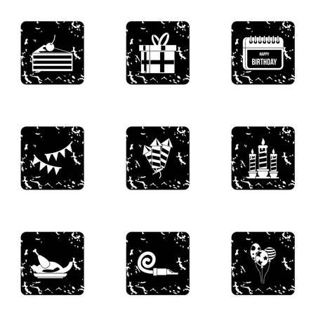 Birthday party icons set. Grunge illustration of 9 birthday party icons for web