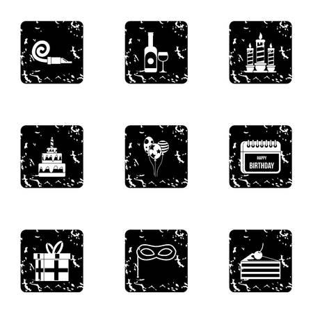 Holiday birthday icons set. Grunge illustration of 9 holiday birthday icons for web Stock Photo