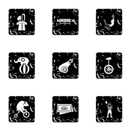 Circus chapiteau icons set. Grunge illustration of 9 circus chapiteau icons for web