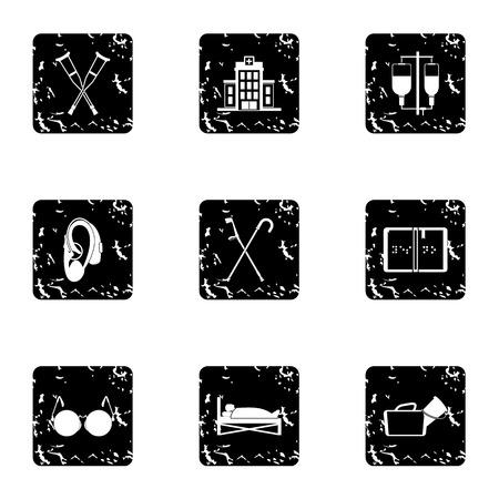 Disability icons set, grunge style Stock Photo