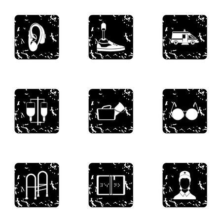 People with disabilities icons set, grunge style