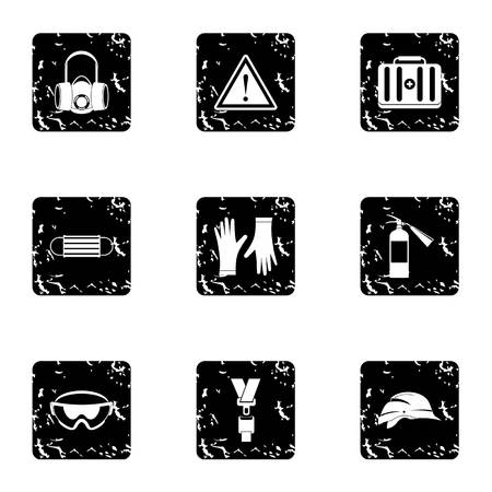 Repair tools icons set, grunge style
