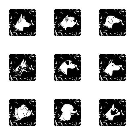 Dog icons set, grunge style Stock Photo