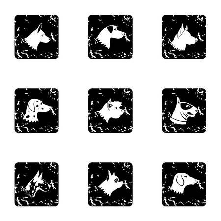 Types of dogs icons set, grunge style Stock Photo