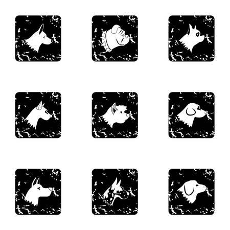 Pet dog icons set, grunge style