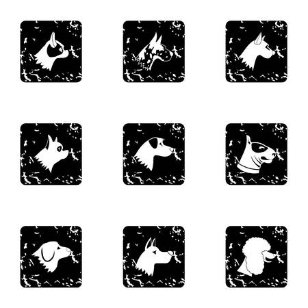 Faithful friend dog icons set, grunge style Stock Photo