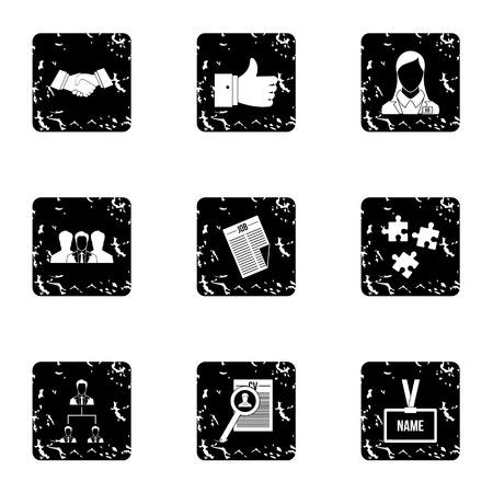 Staffing agency icons set, grunge style