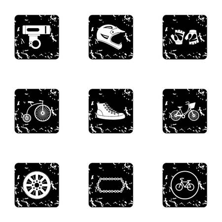 Race cycling icons set, grunge style