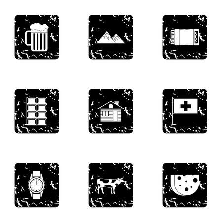 Holiday in Switzerland icons set, grunge style