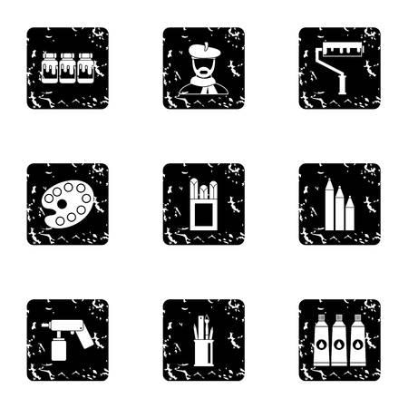 Art icons set, grunge style